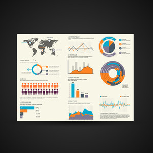 Various business infographics elements collection including world map, human infographics, bars and graphs.