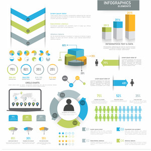 Various business infographics elements including 3D pie chart, annual statistical bars and graphs for corporate purpose.