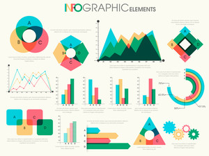 Various colorful Business Infographic elements including statistical graphs and charts for your professional reports presentation.