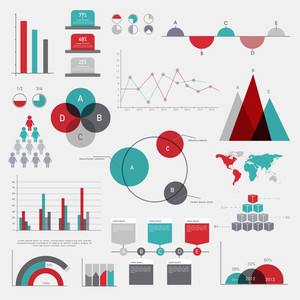 Various colorful Business Infographic elements with statistical bar, graphs, chart and world map.
