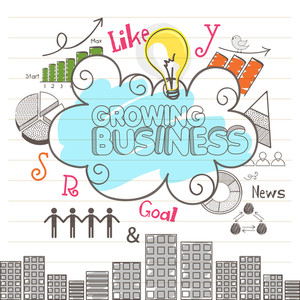 Various hand drawn business infographic elements on notebook paper background.