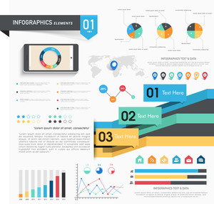 Various infographics elements sets to presenting your business growth and statistics.