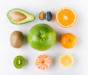 Various tropical fruits on white background isolated