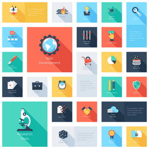 Vector collection of colorful flat search engine optimization icons with long shadow. Design elements for mobile and web applications.