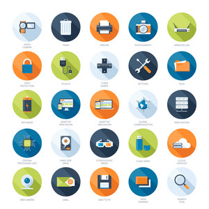 Vector collection of colorful flat technology and multimedia icons with long shadow. Design elements for mobile and web applications.