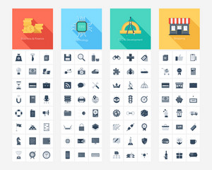 Vector collection of flat and simple web icons on SEO