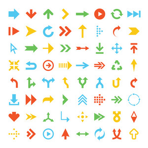 Vector collection of simplistic colorful arrow icons.