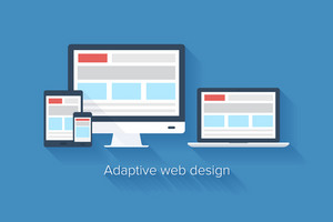 Vector illustration of adaptive web design on different electronic devices