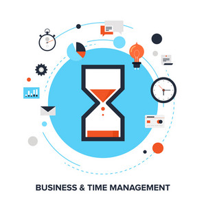 Vector illustration of business and time management flat design concept.