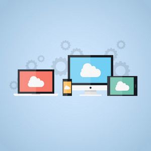 Vector illustration of cloud computing concept on different electronic devices.