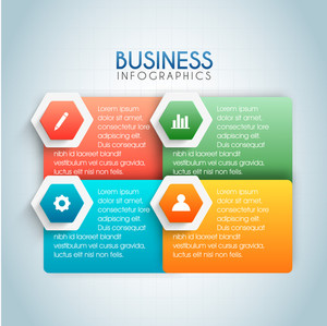 Vector illustration set infographics, paper banners with web symbols for Business concept.