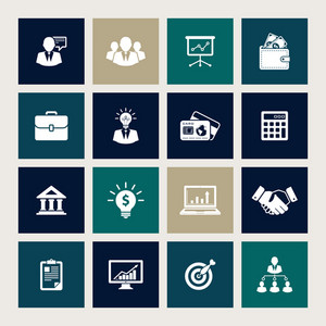 Vector set of 16 business icons