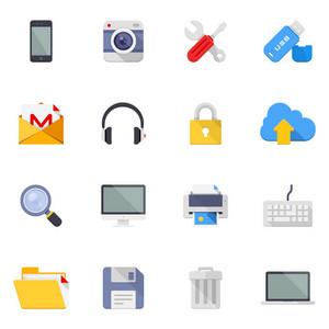 Vector set of 16 colorful flat technology and multimedia icons