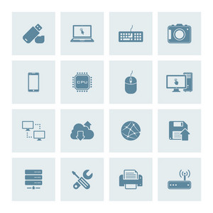 Vector set of 16 technology icons