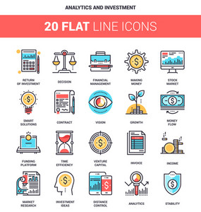 Vector set of analytics and investment flat line web icons. Each icon with adjustable strokes neatly designed on pixel perfect 64X64 size grid. Fully editable and easy to use.