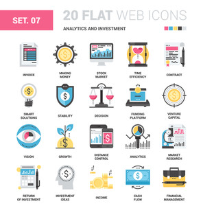Vector set of analytics and investment flat web icons. Each icon neatly designed on pixel perfect 64X64 size grid. Fully editable and easy to use.