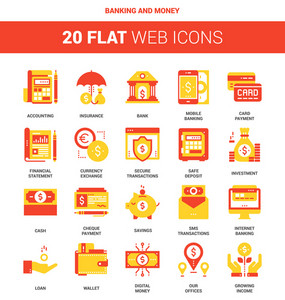Vector set of banking and money flat web icons. Each icon neatly designed on pixel perfect 64X64 size grid. Fully editable and easy to use.