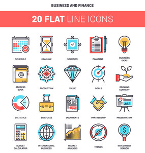 Vector set of business and finance flat line web icons. Each icon with adjustable strokes neatly designed on pixel perfect 64X64 size grid. Fully editable and easy to use.