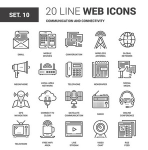 Vector set of communication and connectivity line web icons. Each icon with adjustable strokes neatly designed on pixel perfect 64X64 size grid. Fully editable and easy to use.