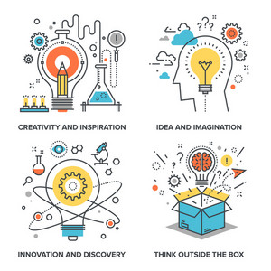 Vector set of conceptual flat line illustrations on following themes - creativity and inspiration