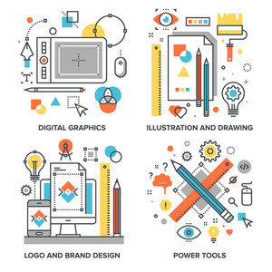 Vector set of conceptual flat line illustrations on following themes - digital graphics