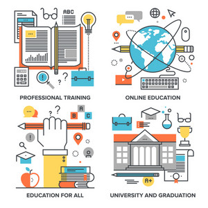 Vector set of conceptual flat line illustrations on following themes - professional training