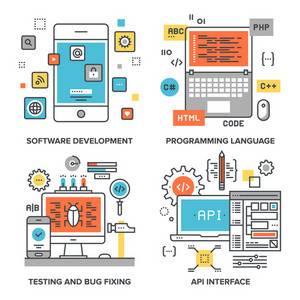 Vector set of conceptual flat line illustrations on following themes - software development