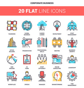 Vector set of corporate business flat line web icons. Each icon with adjustable strokes neatly designed on pixel perfect 64X64 size grid. Fully editable and easy to use.