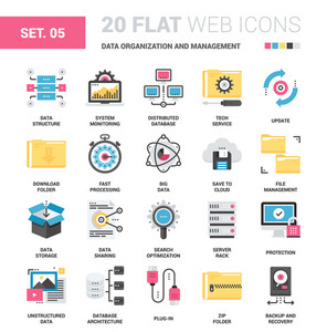 Vector set of data organization and management flat web icons. Each icon neatly designed on pixel perfect 64X64 size grid. Fully editable and easy to use.