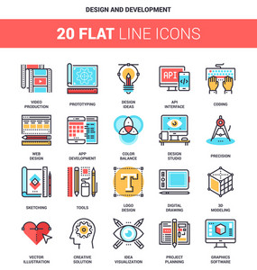 Vector set of design and development flat line web icons. Each icon with adjustable strokes neatly designed on pixel perfect 64X64 size grid. Fully editable and easy to use.