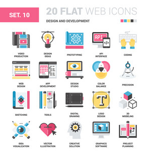 Vector set of design and development flat web icons. Each icon neatly designed on pixel perfect 64X64 size grid. Fully editable and easy to use.