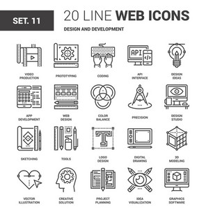 Vector set of design and development line web icons. Each icon with adjustable strokes neatly designed on pixel perfect 64X64 size grid. Fully editable and easy to use.