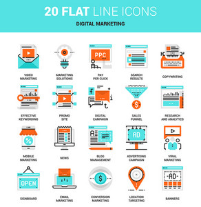 Vector set of digital marketing flat line web icons. Each icon with adjustable strokes neatly designed on pixel perfect 64X64 size grid. Fully editable and easy to use.