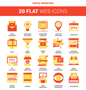 Vector set of digital marketing flat web icons. Each icon neatly designed on pixel perfect 64X64 size grid. Fully editable and easy to use.