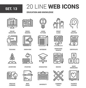 Vector set of education and knowledge line web icons. Each icon with adjustable strokes neatly designed on pixel perfect 64X64 size grid. Fully editable and easy to use.