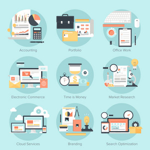 Vector set of flat and colorful concepts on business and finance