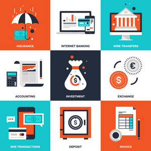 Vector set of flat banking and finance icons on following themes - insurance