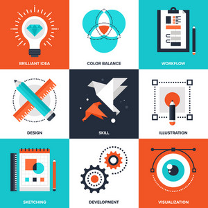 Vector set of flat creative process icons on following themes - brilliant idea