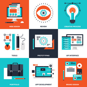 Vector set of flat design and development icons on following themes - web design