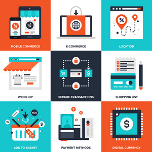 Vector set of flat digital commerce icons on following themes - webshop