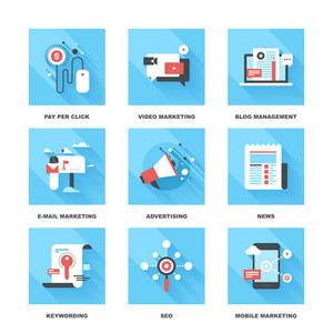 Vector set of flat digital marketing icons. Icon pack includes following themes - pay per click
