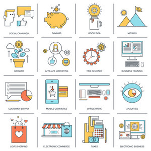 Vector set of flat line concepts on business and finance theme . Design elements for web and mobile applications.