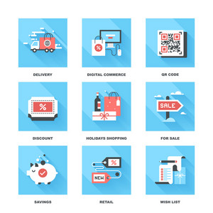 Vector set of flat shopping and commerce icons. Icon pack includes following themes - delivery