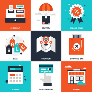 Vector set of flat shopping and commerce icons. Icon pack includes following themes - location