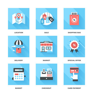 Vector set of flat shopping and commerce icons with long shadow. Icon pack includes following themes - location