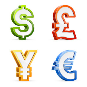 Vector set of glossy colorful currency symbols