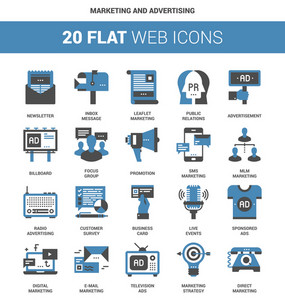 Vector set of marketing and advertising flat web icons. Each icon neatly designed on pixel perfect 64X64 size grid. Fully editable and easy to use.