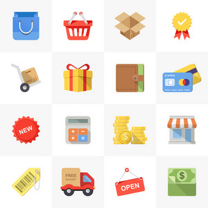 Vector set of modern flat and colorful shopping icons.