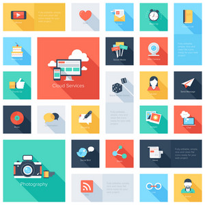 Vector set of modern flat and colorful social media icons with long shadow. Design elements for web and mobile applications.