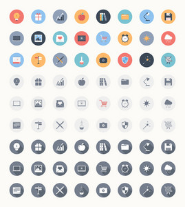 Vector set of modern trendy and flat web icons in three different styles - colorful